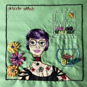 Embroidered sampler with drizzle stitch details