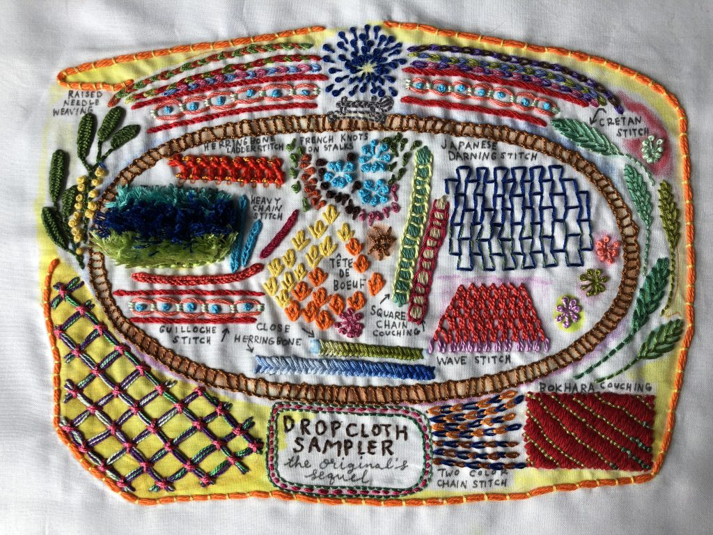 Embroidery sampler stitched in bright colours