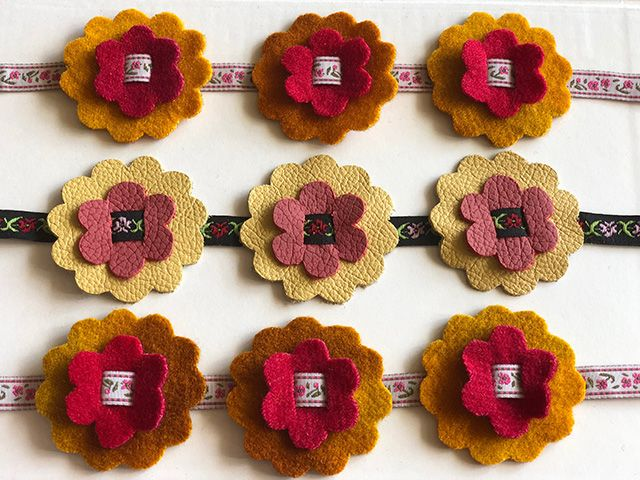Felt and leather flowers