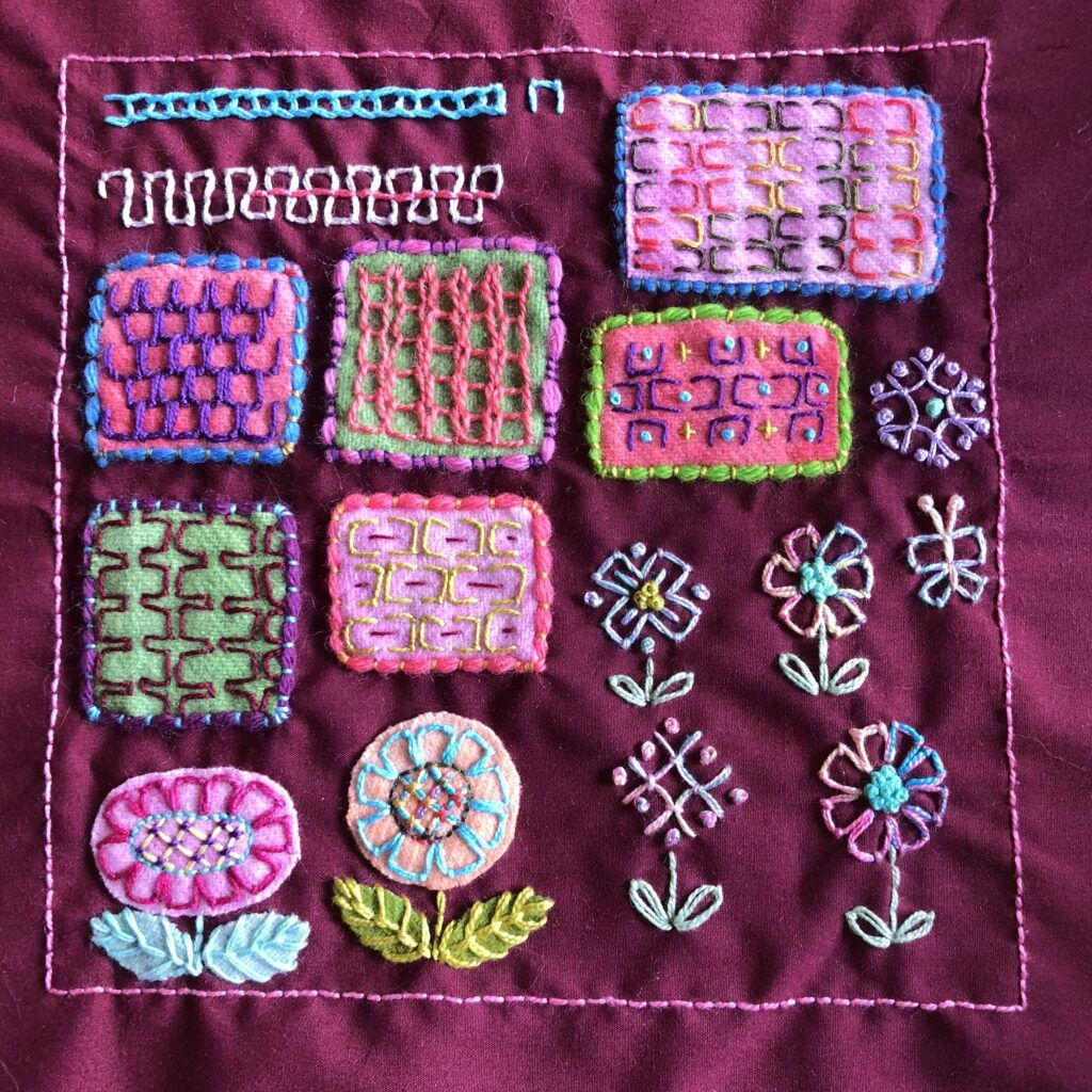 Various ways of stitching an embroidered sampler using single units of open chain stitch