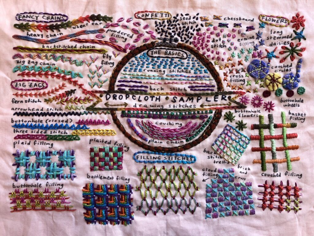 Embroidered sampler designed by Rebecca Ringquist of Dropcloth Samplers and embroidered by Sarah Bradberry of knitting-and.com