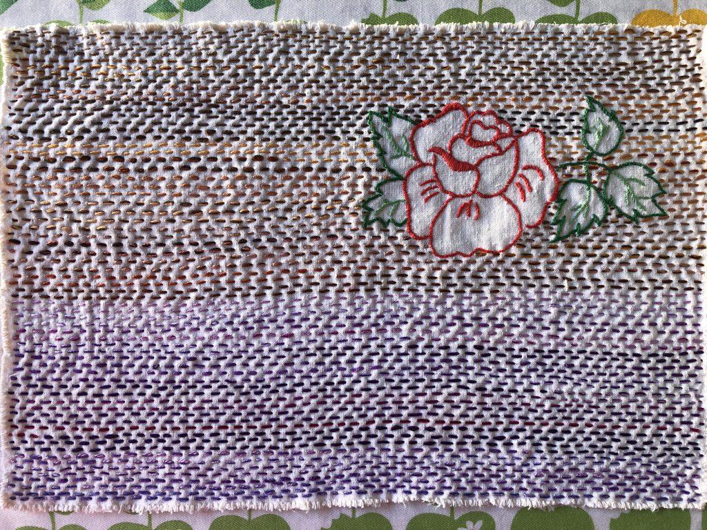 Running stitch on found embroidery.