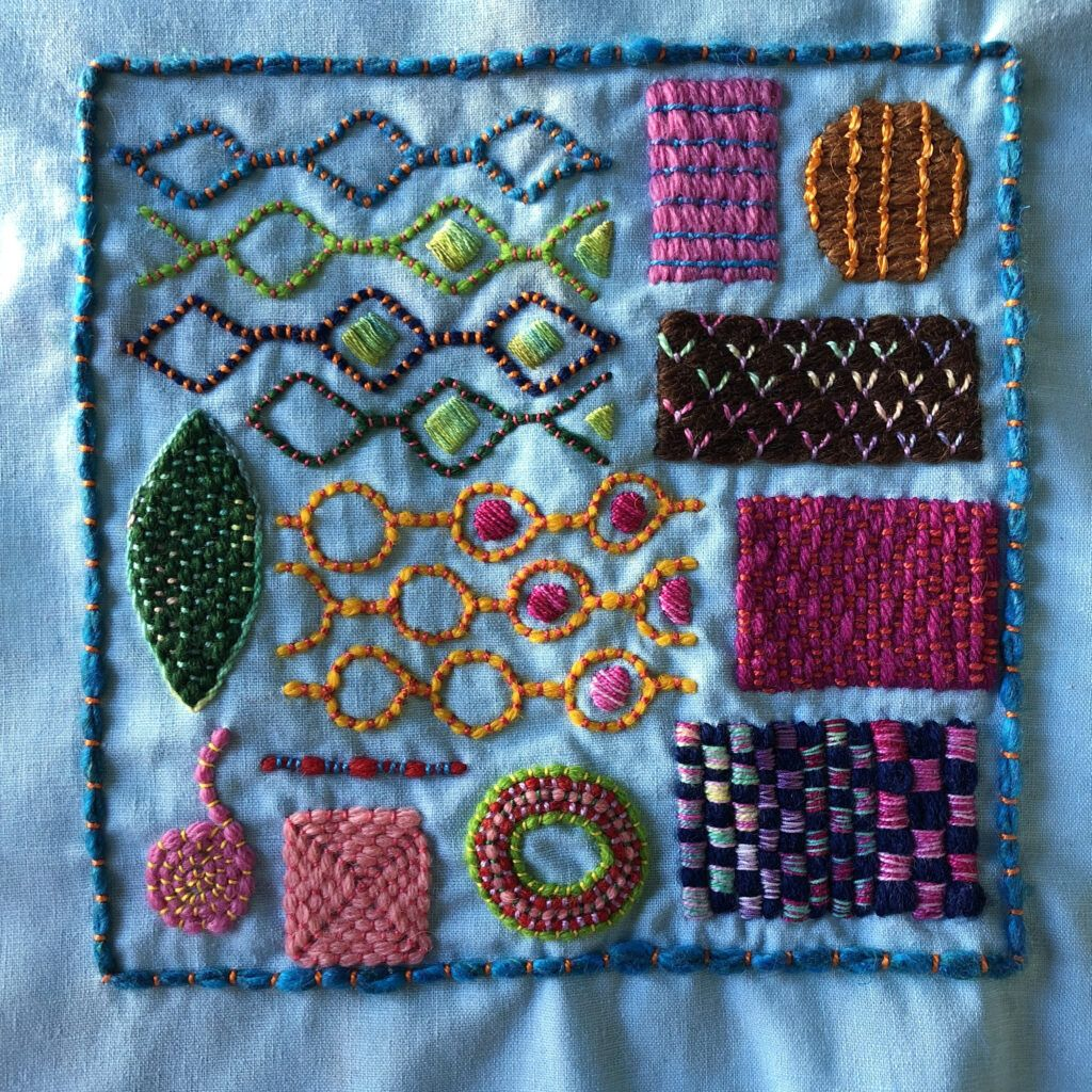 Couched filling embroidery sampler, stitched by Sarah Bradberry of knitting-and.com