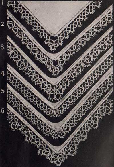 Tatted handkerchief edgings