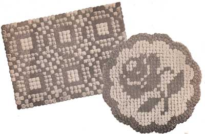 Quilt Block and Rose pom pon rugs