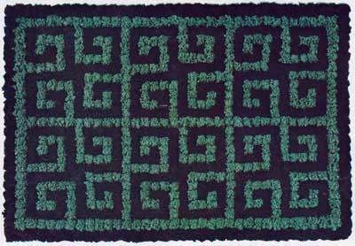 square spiral pom pom rug