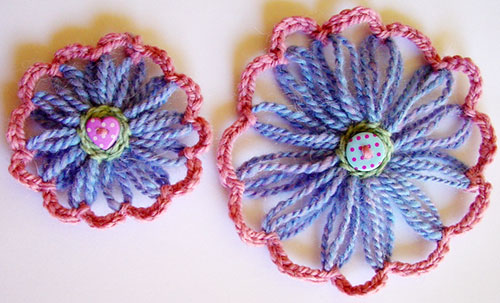 Different size loomed flowers