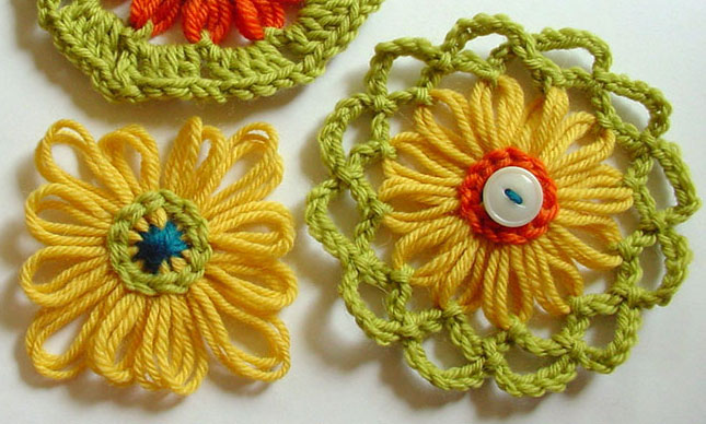 Loomed flowers with chain stitch decoration