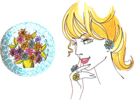 Flower loom picture and girl wearing floral jewellery