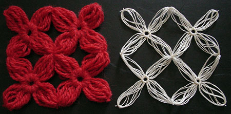 The difference between yarn and thread flowers