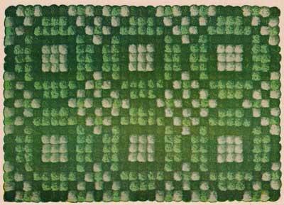 Green geometric pom pom rug