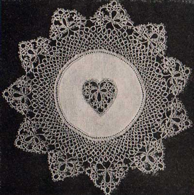 Tatted heart doily