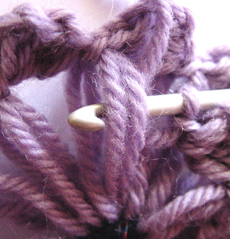 Where to put the hook to begin the inner round of crochet