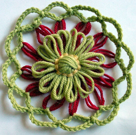 Finished flower with chain stitch edging