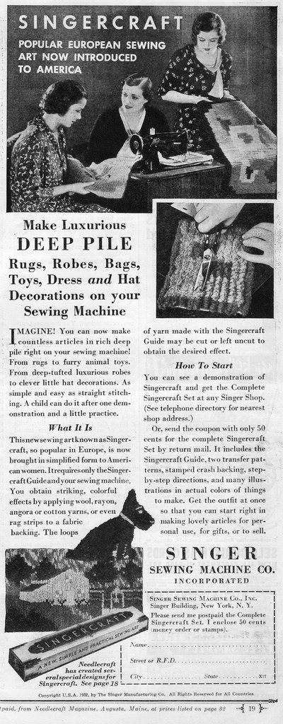 Singercraft Guide Ad. October 1932