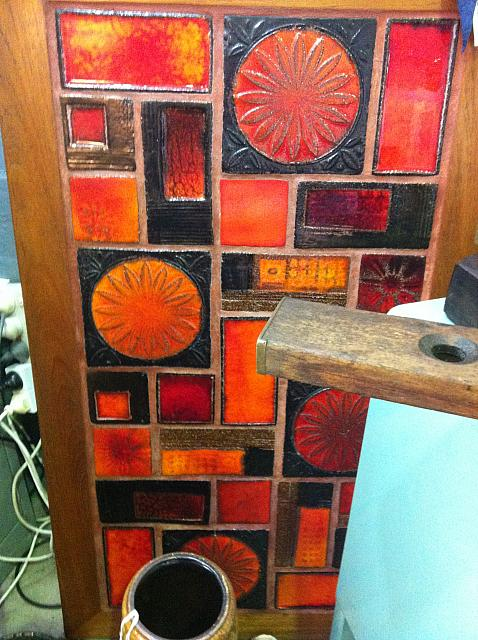 1970's tiled architectural wall panel