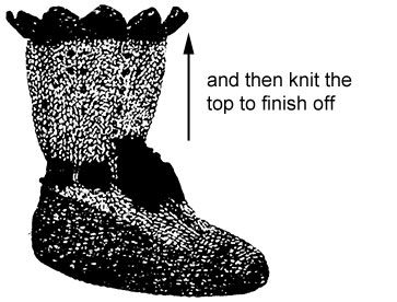 Diagram for knitting Victorian bootee
