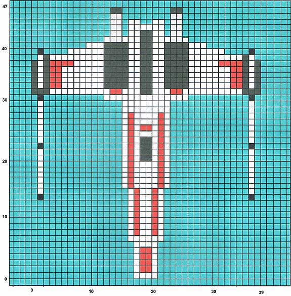 X-wing knitting chart