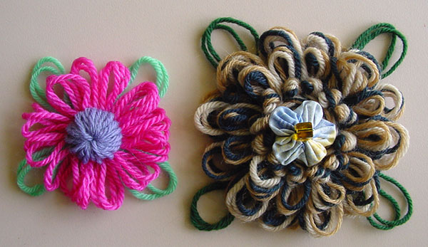 Loomed flowers with large loopy leaves