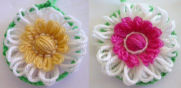 Doubled sided flowers made on the bloom loom flower loom