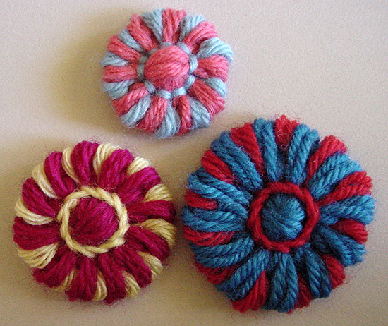 Disk flowers made on a flower loom