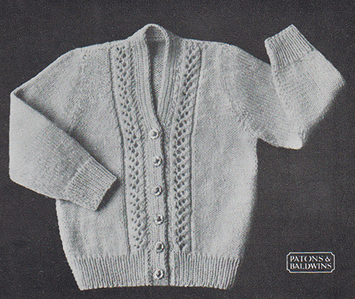 Free knitting pattern for a baby's cardigan with vertical lace panels