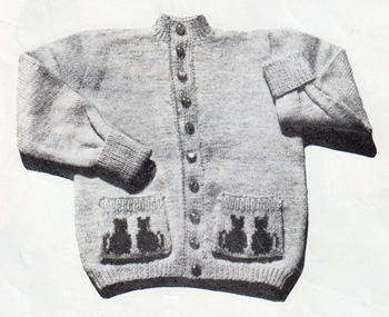 Toddler's cardigan with cats on the pockets - free knitting pattern