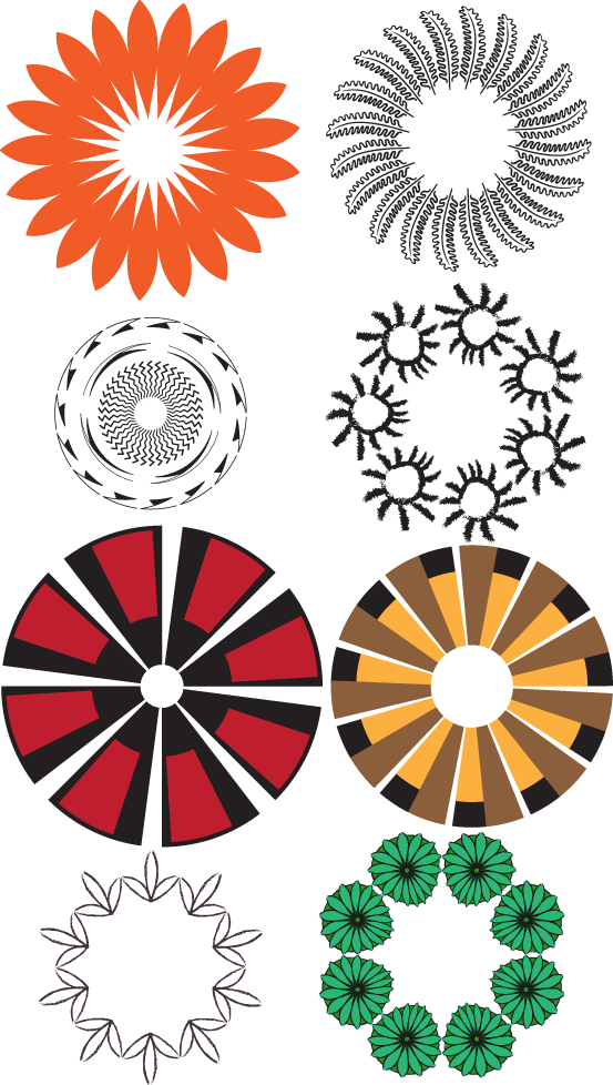 Circle designs made with antique inspired Adobe Illustrator brushes