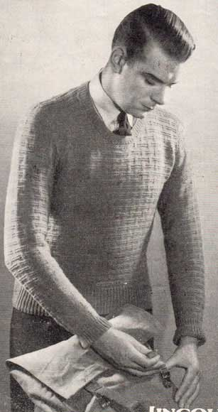 Mans fitted jumper/sweater with basket stitch patterning