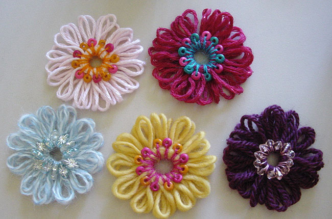 Loomed flowers with beaded centers