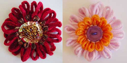 Loomed flowers with beads and buttons in the center