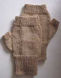 Fingerless mitts knit with fingering or sock weight yarn
