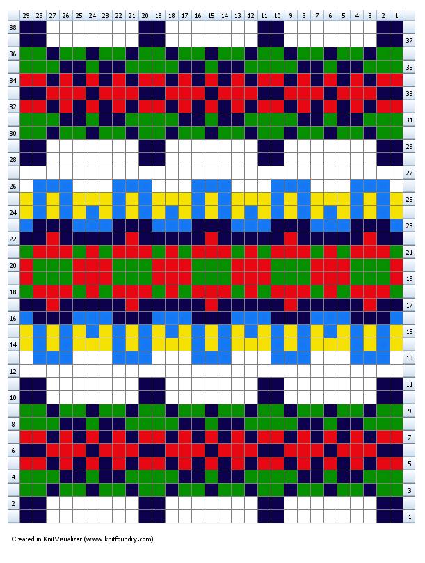 Fairisle knitting chart for Beth gloves knit on two needles