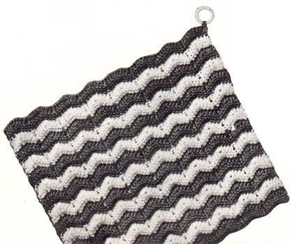 Striped ripple stitch potholder