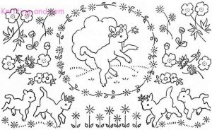 Spring time lambs and flowers embroidery design