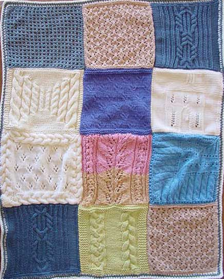 Knitted sampler blanket with cables and lace patterning