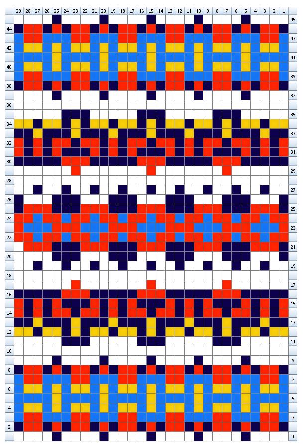 Carol fairisle chart for gloves knit on 2 needles