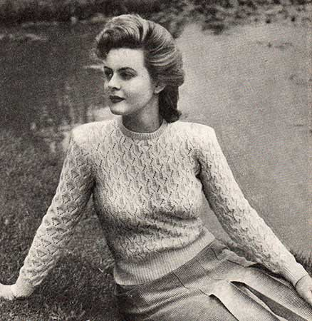 Long sleeved crew-neck jumper/sweater with all over lace patterning