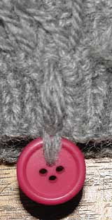 Button threaded onto the fringe