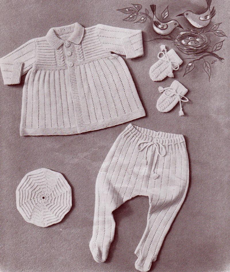 Cherub pram set. Cardigan, leggings, beret and mittens.