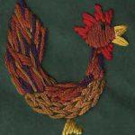 Folk-Style Chicken Hand Embroidery Design