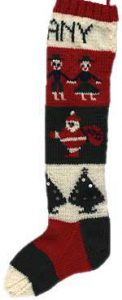 Intarsia Christmas stocking with trees, Santa Claus and children.