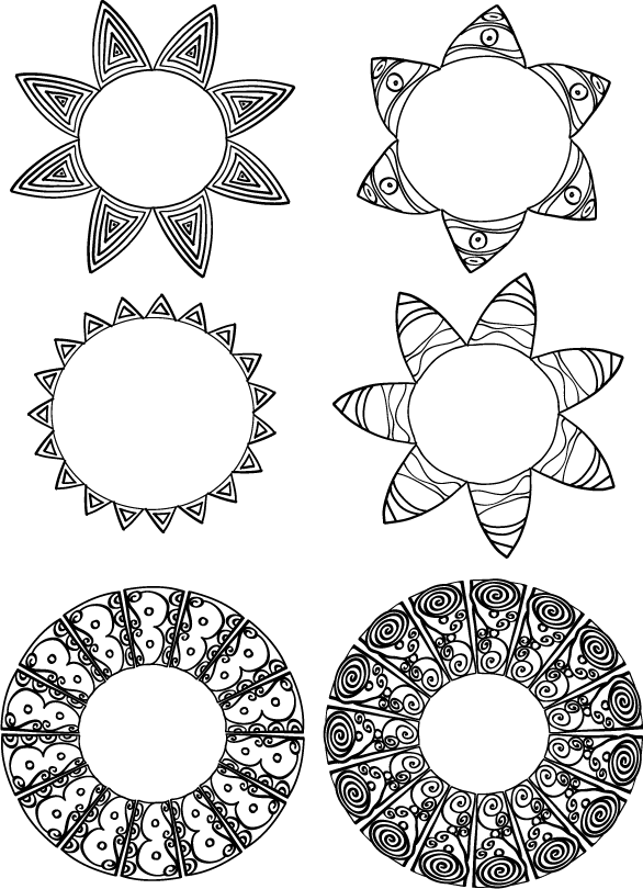 Circular motifs drawn in Illustrator