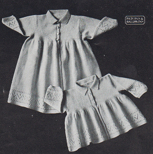 Free knitting pattern for a baby's matinee jacket and carrying coat with lace pattern around the cuffs and bottom