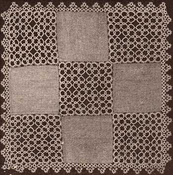 A Centerpiece of Linen and Tatted Squares from Needlecraft Magazine, September 1924