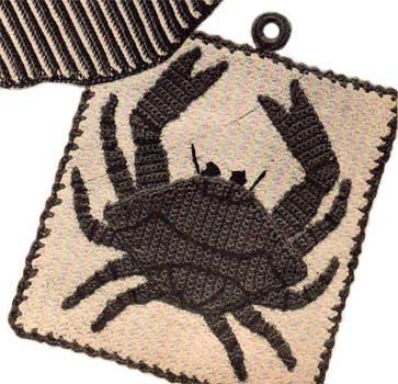 Square potholder with crochet crab appliqued on the front
