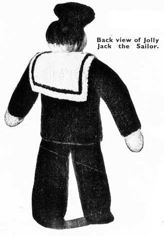 Vintage sailor yarn doll with knitted outfits