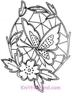 Medallion shaped cutwork embroidery design with butterfly and flower
