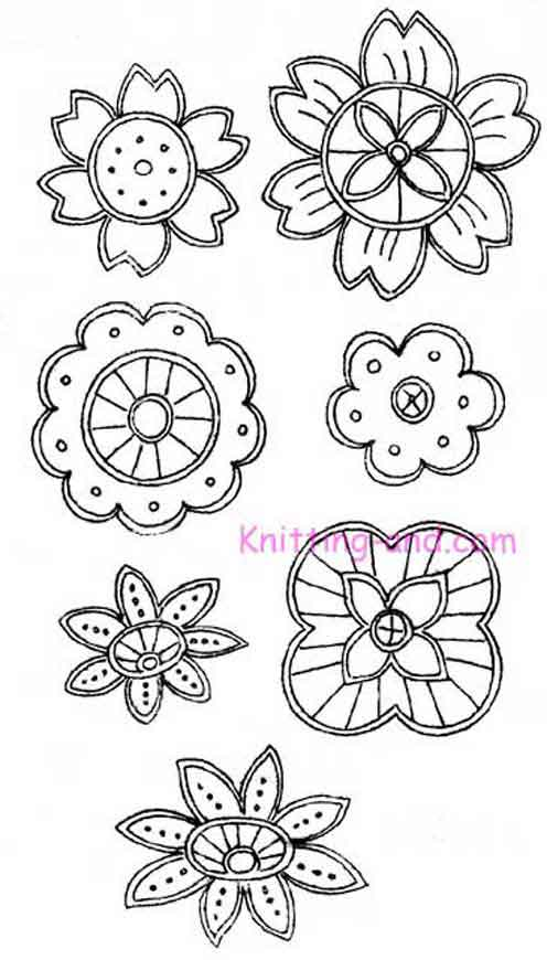 Seven floral cutwork embroidery designs