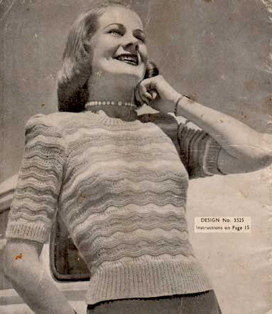 Long or short sleeve vintage pullover with lace feather and fan stripes